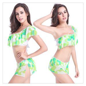 Bikini de grado superior Bikini con volantes sexy Correa de un hombro Traje de baño de bikini de tela de malla transpirable elástica suave de alta calidad