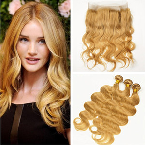 Strawberry Blonde Body Human Wave Cheveux 360 Lace Frontal avec fermeture Bundles # 27 Honey Blonde Virgin Brésil Cheveux Tissages avec 360 Frontal