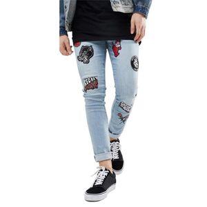 2019 Men Stylish Ripped Jeans Pants Biker Skinny Embroidery Straight Frayed Denim Trousers skinny Streetwear jeans men AB42