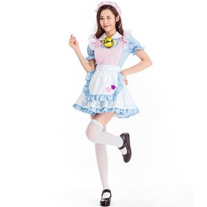 Hellblaue Frau Halloween Maid Kostüm Alice im Wunderland Prinzessin Cosplay Karneval Purim Masquerade Rollenspiel Bar Partykleid