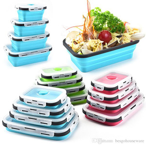 Plegable de silicona almuerzo cajas 4pcs / set Alimentos CONTENEDOR alimentos en el hogar Frutas titular portátil para acampar almuerzo cajas plegables BH1966 TQQ