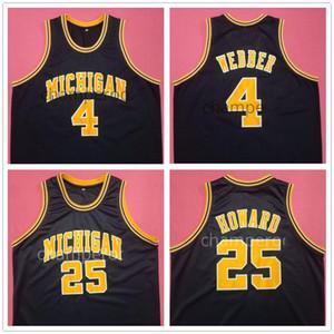 Michigan Wolverines Hochschule Chris Webber # 4 Juwan Howard # 25 Marine-Blau-Retro Basketball-Jersey-Männer genähtes Benutzerdefinierte Nummer Name Trikots