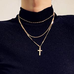 S862 Европа Мода Женские украшения ожерелье Крест Крест Подвеска Многослойная Цепи Дамы свитер ожерелье