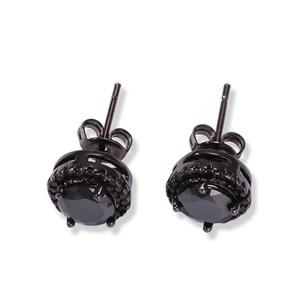 Stud de oreja de Hip Hop Nuevos clavos de zirconio negro de cuatro garras Cuadrados de zirconio cuadrado circular circular Pendientes chapados en oro para hombres