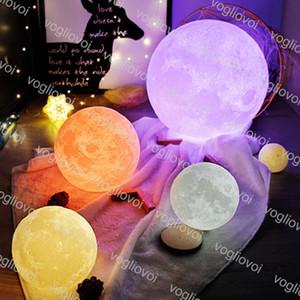 La luz de la luna de la lámpara 10cm 12cm 13cm 15cm 18cm 20cm 3D Noche de impresión LED de 2 colores 16 Colorsl la luz de luna del USB del escritorio de la lámpara de DHL