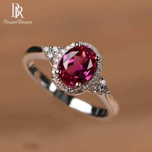 925 anello in argento sterling per donna con ovale rubino gemma zircone regalo del partito femminile Silver Anniversary gioielli