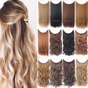 """24 """" женщины невидимый провод нет клипы в линии рыбы наращивание волос прямые волнистые длинные термостойкие синтетические шиньон"""