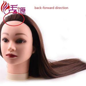 100% Cabeça Do Treinamento Do Cabelo Humano Real Cor Natural Pode ser Cabeça Enrolada Cabeleireiro Manequim Cabeça Com O Cabelo Humano Para Trás Para A Direita