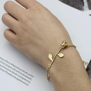 Fashion Dainty Rose Charm Bracelet Delicate Cable Chain Adjustable Bangle Dropshipping
