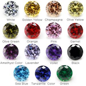 1PCS Per Colors Total 15pcs Size 4mm ~ 10mm Round Shape Loose Cubic Zirconia Stone