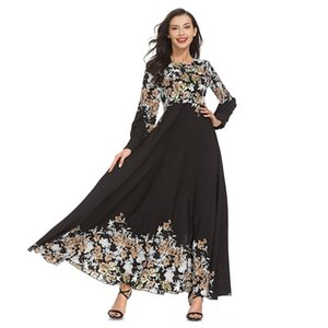 Nouveau élégant adulte femmes musulmanes Slim Robe Rose Moyen-Orient Abaya Dubaï Kaftan Lady islamique Printed Robes longues Vêtements