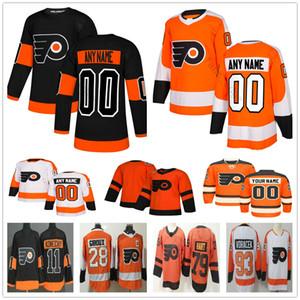 Özel Philadelphia Flyers # 79 Carter Hart 00 Gritty 9 Ivan Provorov 11 Travis Konecny 14 Sean Couturier Erkek Kadın Çocuk Gençlik Hokey Formaları