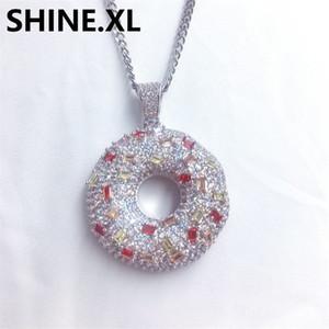 Donut Halsketten-Anhänger für Frauen-Mann Donut Charms Schmuck Iced Out CZ Stein Halsketten süße Brötchen Anhänger Männer