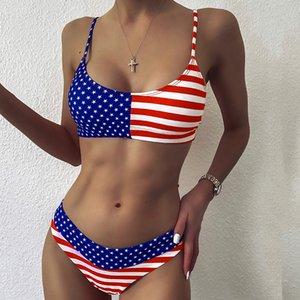 Costume da bagno della bandiera americana bikini del vestito di nuoto delle donne per le donne Bikini 2020 due pezzi Costumi da bagno Donna Sexy Push Up Beachwear