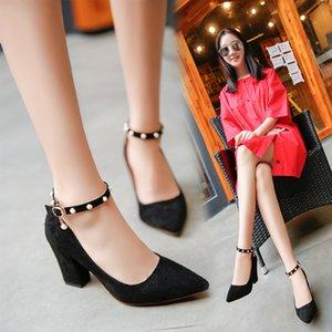 Fairy2019 haute boucle une chaussure Femme gros avec Sharp Petit frais haute talons Xia Baida Chaussures simples Tide