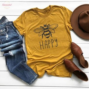 Plus Size Women Summer Tee Shirt Cotton Round Neck Bee Print T Shirts Short Sleeve Casual Multicolor Shirt V Neck Tops Chemise