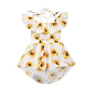 Summer Kids Girls Princess Dress Fashion Baby Girl Clothes Girocollo con stampa a fiori Spalline Abiti senza maniche