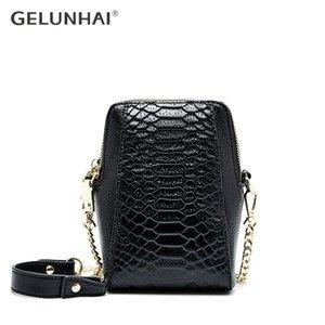 GELUNHAI 100% Genuine Leather Soft Skin Fashion Women Messenger Bag Alligator Pattern Shoulder Phone Bag Small Flap Chain Strap