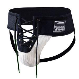 "Jockmail Sexy Thongs Mens Futebolista Lace Up Jockstrap, 3,15"" Cintura Frente Lacing, Gay Penis corda aberta Roupa interior, tamanho US M ~ XL"