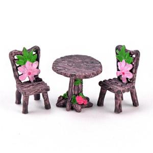 3pcs / Set Giardino Minicraft Tavolo resina sedia Micro Ornamento Paesaggio giocattolo Piccolo Mondo Fairy decorazioni per i bambini regalo 19