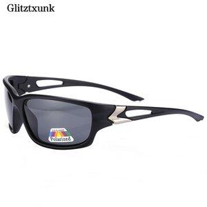 Glitztxunk lussuosa uomini sunglasses nero occhiali da sole polarizzati di guida Specchi rivestimento nero Eyewear UV400 Maschio vetro di Sun