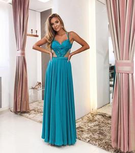 Peacock Blue Chiffon Abendkleider Schatz-A-Line Abendkleider Hohle Taillen-Spitze-Abend-Partei-Kleid geöffnete zurück vestido de festa