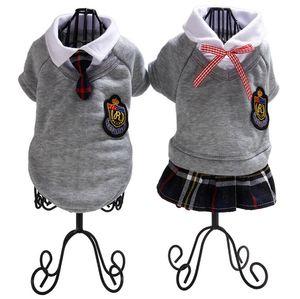 Art und Weise 1PCS Campus-Art-weibliche und männliche Hunde Shirts Hundekleidung Baumwollweste Paare Jacke Kleid für kleine Hunde für Frühling und Herbst
