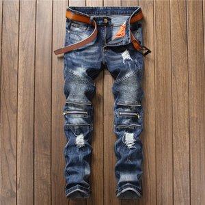 2020 New Trend Men's Clothing Stitching Nightclub Sportsman International Big-name Slim Micro-elastic Small Straight Jeans Size 28-38