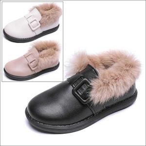 Preto sapatilha Crianças Crianças das meninas PU Aqueça Fur Shoes Meninos Sapatilhas 2019 Children Inverno Skate Shoe # 47