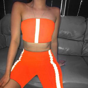 Frauen Designer Tracksuits Sexy Fashion 3M Reflective trägerlose dünne Zweiteilige Sets Sommer Damenmode