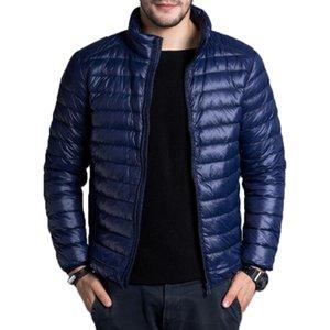 남자 다운 파카 재킷 남자 캐주얼 봄 가을 겨울 스탠드 칼라 패션 따뜻한 코트 망 울트라 라이트 얇은 화이트 오리 재킷 4XL