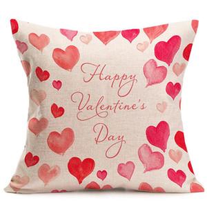 45 * 45CM مقهى غطاء وسادة أريكة وسادة القضية الرئيسية زوجين من جانب واحد الطباعة الوردي الحلو الكتان المخدة تصميم حسب الطلب DH0831