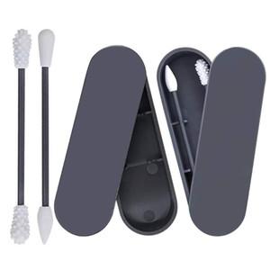 Cotonete Portátil Silicone Swab lavável para limpeza da orelha Tratamento de Beleza Maquiagem reutilizáveis cotonetes com caso Dust-proof