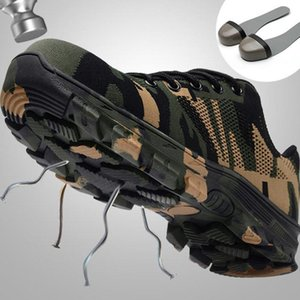 Work Boots Construction Men Outdoor Steel Toe Cap Shoes Men Camouflage Puncture Proof High Quality Safety Shoes Plus Size
