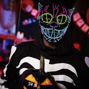 LED Decoração de Halloween Mask Glowing Cat Costume Anonymous para máscaras de incandescência dança partido do carnaval rosto cheio