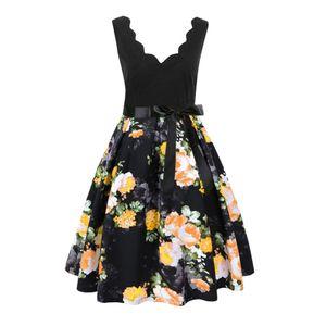 Jaycosin 1 adet bahar dress kadınlar kolsuz moda vintage flare diz boyu dress parti artı boyutu kızlar için elbiseler z1214 y19071001