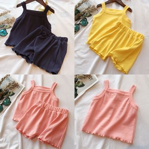 3 Colors Baby Solid Clothing Sets Infants Sling T-shirts Tops + Short 2pcs set Summer Cotton Home Clothes Kids Pajamas Sets M2081