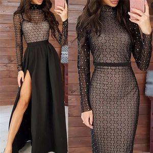 Sexy Women Transparent Bandage Diamond Bodycon Dress Mesh Sparky Party Long Sleeve Party Clubwear Split Empire Long Maxi Dresses