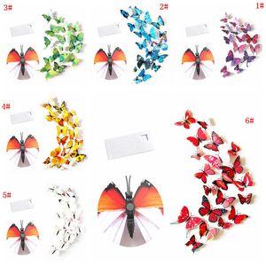12pcs mur papillon autocollant 3D PVC Simulation stéréoscopiques papillon mureaux aimant Art Decal Chambre Kid Home Decor VT0446