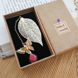 Graduation gift box souvenir bookmark teacher giveaway metal leaf silvery unique lucky charm wedding guest favor pendant