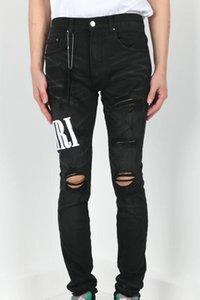 2020 Atacado clássico Miri Hip Hop Calças Jeans Calças Designer Aquaman magro dos homens Hetero motociclista magros Fenda Jeans Homens Mulheres Ripped Jeans
