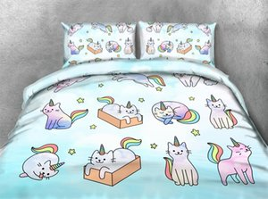 Cat Unicorn 3D Imprimir conjuntos de cama gêmea capa de edredão For Kids Confortável 3 Pieces Meninas Meninos Estrela Duvet Set Twin Cat Colcha 200x225CM