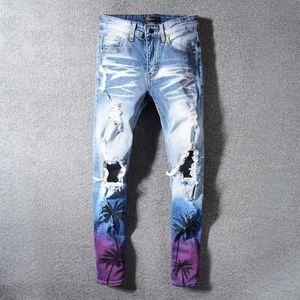 Avrupa ve Amerikan sokak kot degrade renk palm baskı nakış yılan yama kot diz delik pantolon