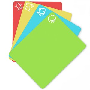 """Flexible Plastic Non-slip Chopping Block - Cutting Board - Cutting Mats With Food Icons Kitchen Tools (Set Of 4) 15""""x 12"""" T200703"""