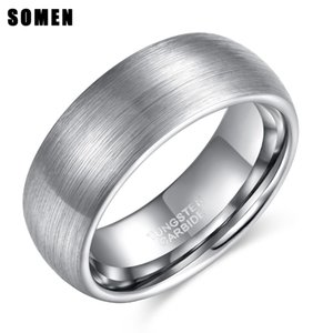 Somen 8mm Silver Dome Design Tungsten Carbide Ring Brushed Male Engagement Rings Wedding Band Fashion Jewelry Anillos Hombre J190715