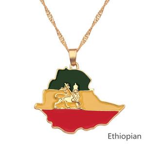 Панк эфиопского флаг Лев Карта Подвеска Ожерелье Женщина Мужчины ювелирные изделия золото Цвет Африка Карта Эфиопия Лев ожерелье Bijoux Femme