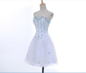 Beaded Crystal Sweetheart Tulle Short Homecoming Dress Lace Up Knee Length Prom Dress Elegant Party Dress