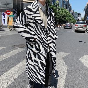 New Men High Street Punk Hip Hop Woolen Overcoat Long Trench Coat Autumn Male Streetwear Fashion Windbreaker Jacket