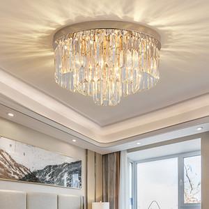 Nuovo design moderno cerchio D 40 cm x H 25 cm oro cristallo lampadario illuminazione a led flush monte rotondo lampadari per la camera da letto ingresso