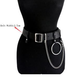 2019 Frauen Gothic Punk Gürtel Kette Metall-Kreis-Ring-Entwurfs-Silber Pin Schnalle Leder Schwarz Bund Jeans Taillengürtel